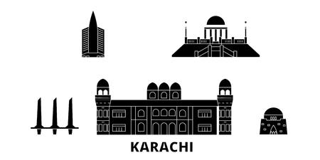 Pakistan, Karachi flat travel skyline set. Pakistan, Karachi black city vector panorama, illustration, travel sights, landmarks, streets.