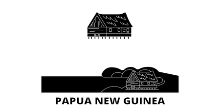 Papua New Guinea flat travel skyline set. Papua New Guinea black city vector panorama, illustration, travel sights, landmarks, streets.