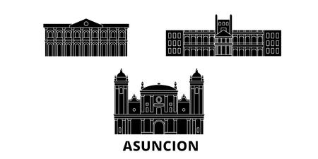 Paraguay, Asuncion flat travel skyline set. Paraguay, Asuncion black city vector panorama, illustration, travel sights, landmarks, streets.