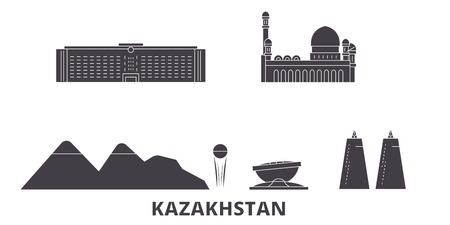 Kazakhstan flat travel skyline set. Kazakhstan black city vector panorama, illustration, travel sights, landmarks, streets. 일러스트