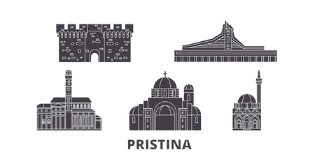 Kosovo, Pristina flat travel skyline set. Kosovo, Pristina black city vector panorama, illustration, travel sights, landmarks, streets.