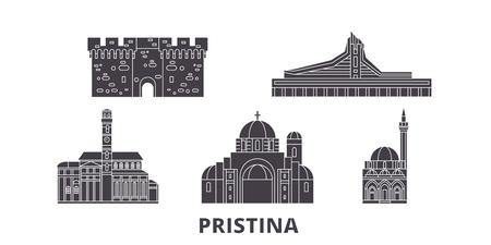 Kosovo, Pristina flat travel skyline set. Kosovo, Pristina black city vector panorama, illustration, travel sights, landmarks, streets.