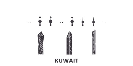 Kuwait, Kuwait flat travel skyline set. Kuwait, Kuwait black city vector panorama, illustration, travel sights, landmarks, streets.