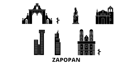 Mexico, Zapopan flat travel skyline set. Mexico, Zapopan black city vector panorama, illustration, travel sights, landmarks, streets.