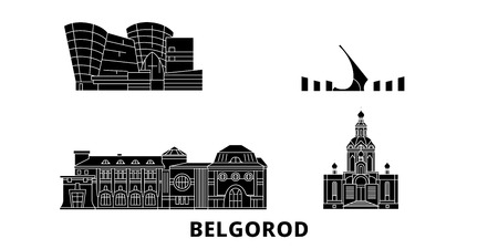 Russia, Belgorod flat travel skyline set. Russia, Belgorod black city vector panorama, illustration, travel sights, landmarks, streets.