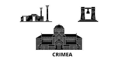 Russia, Crimea, Chersonesus flat travel skyline set. Russia, Crimea, Chersonesus black city vector panorama, illustration, travel sights, landmarks, streets. Иллюстрация