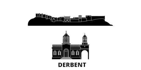 Russia, Derbent flat travel skyline set. Russia, Derbent black city vector panorama, illustration, travel sights, landmarks, streets. Illustration