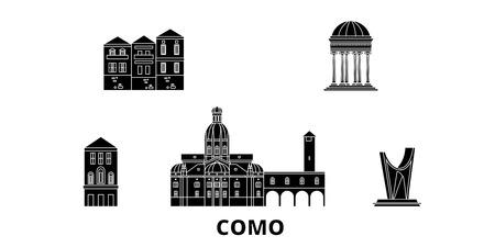 Italy, Como flat travel skyline set. Italy, Como black city vector panorama, illustration, travel sights, landmarks, streets.  イラスト・ベクター素材