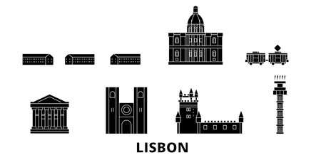 Portugal, Lisbon flat travel skyline set. Portugal, Lisbon black city vector panorama, illustration, travel sights, landmarks, streets.