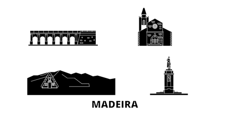 Portugal, Madeira flat travel skyline set. Portugal, Madeira black city vector panorama, illustration, travel sights, landmarks, streets.