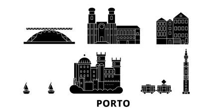 Portugal, Porto, ensemble d'horizon de voyage plat. Portugal, panorama vectoriel de la ville noire de Porto, illustration, sites touristiques, monuments, rues.