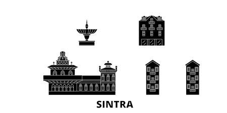 Portugal, Sintra flat travel skyline set. Portugal, Sintra black city vector panorama, illustration, travel sights, landmarks, streets.