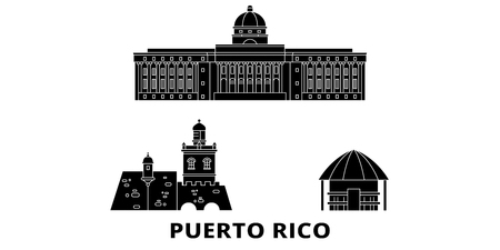 Puerto Rico flat travel skyline set. Puerto Rico black city vector panorama, illustration, travel sights, landmarks, streets.