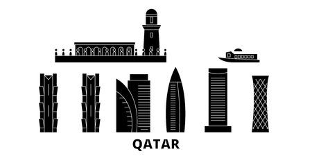 Qatar, Doha flat travel skyline set. Qatar, Doha black city vector panorama, illustration, travel sights, landmarks, streets. Çizim