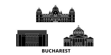 Romania, Bucharest flat travel skyline set. Romania, Bucharest black city vector panorama, illustration, travel sights, landmarks, streets. Иллюстрация