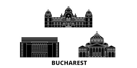 Rumänien, Bukarest flache Reise-Skyline-Set. Rumänien, Bukarest schwarzes Stadtvektorpanorama, Illustration, Reiseanblicke, Sehenswürdigkeiten, Straßen. Vektorgrafik
