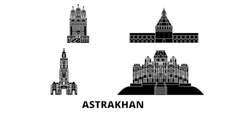 Russia, Astrakhan flat travel skyline set. Russia, Astrakhan black city vector panorama, illustration, travel sights, landmarks, streets. 일러스트