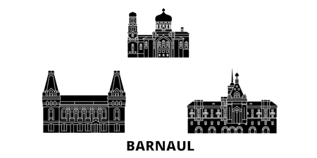 Russia, Barnaul flat travel skyline set. Russia, Barnaul black city vector panorama, illustration, travel sights, landmarks, streets.