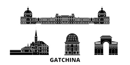 Russia, Gatchina  flat travel skyline set. Russia, Gatchina  black city vector panorama, illustration, travel sights, landmarks, streets.