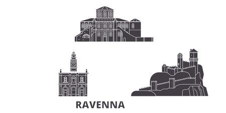 Italy, Ravenna flat travel skyline set. Italy, Ravenna black city vector panorama, illustration, travel sights, landmarks, streets. Stock Vector - 120730965