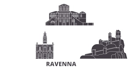 Italy, Ravenna flat travel skyline set. Italy, Ravenna black city vector panorama, illustration, travel sights, landmarks, streets.