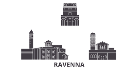 Italy, Ravenna City flat travel skyline set. Italy, Ravenna City black city vector panorama, illustration, travel sights, landmarks, streets. Illusztráció