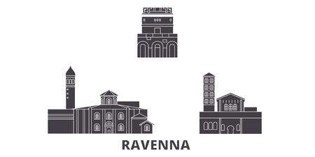 Italy, Ravenna City flat travel skyline set. Italy, Ravenna City black city vector panorama, illustration, travel sights, landmarks, streets. Illustration