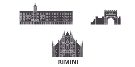 Italy, Rimini flat travel skyline set. Italy, Rimini black city vector panorama, illustration, travel sights, landmarks, streets.