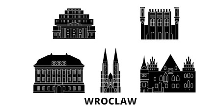 Poland, Wroclaw flat travel skyline set. Poland, Wroclaw black city vector panorama, illustration, travel sights, landmarks, streets.