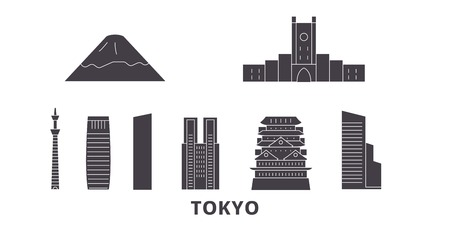 Japan, Tokyo City flat travel skyline set. Japan, Tokyo City black city vector panorama, illustration, travel sights, landmarks, streets.