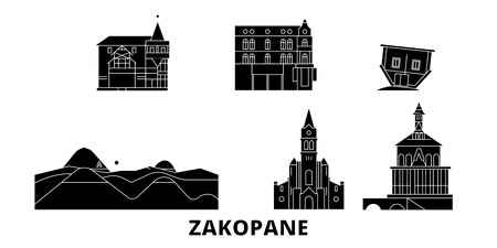 Poland, Zakopane flat travel skyline set. Poland, Zakopane black city vector panorama, illustration, travel sights, landmarks, streets. Ilustração