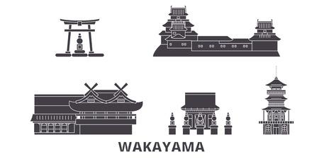 Japan, Wakayama flat travel skyline set. Japan, Wakayama black city vector panorama, illustration, travel sights, landmarks, streets.