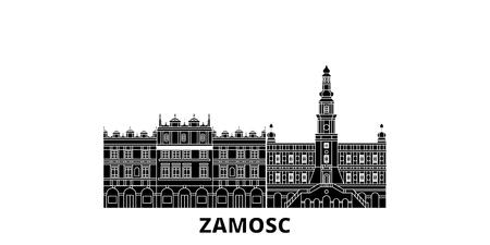 Poland, Zamosc flat travel skyline set. Poland, Zamosc black city vector panorama, illustration, travel sights, landmarks, streets.