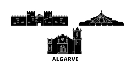 Portugal, Algarve flat travel skyline set. Portugal, Algarve black city vector panorama, illustration, travel sights, landmarks, streets.