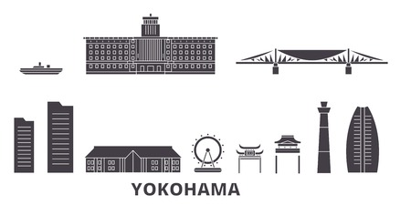 Japan, Yokohama flat travel skyline set. Japan, Yokohama black city vector panorama, illustration, travel sights, landmarks, streets.
