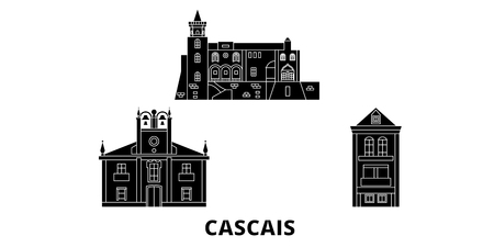 Portugal, Cascais flat travel skyline set. Portugal, Cascais black city vector panorama, illustration, travel sights, landmarks, streets.