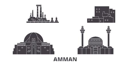 Giordania, set di skyline da viaggio piatto di Amman. Giordania, Amman città nera panorama vettoriale, illustrazione, siti di viaggi, punti di riferimento, strade.