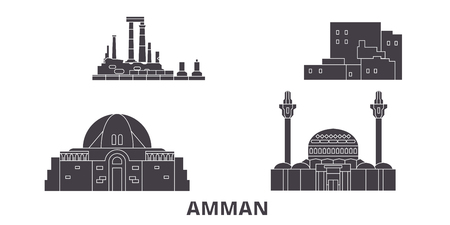 Jordan, Amman flat travel skyline set. Jordan, Amman black city vector panorama, illustration, travel sights, landmarks, streets. Иллюстрация