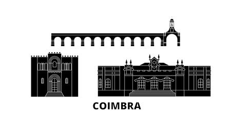 Portugal, Coimbra flat travel skyline set. Portugal, Coimbra black city vector panorama, illustration, travel sights, landmarks, streets.