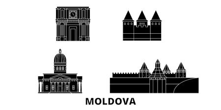 Moldova flat travel skyline set. Moldova black city vector panorama, illustration, travel sights, landmarks, streets.