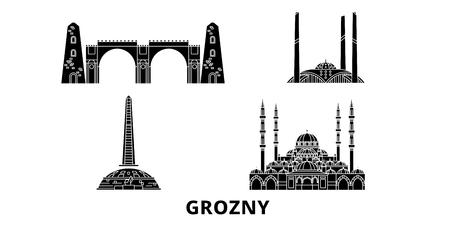 Russia, Grozny flat travel skyline set. Russia, Grozny black city vector panorama, illustration, travel sights, landmarks, streets.