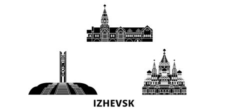 Russia, Izhevsk flat travel skyline set. Russia, Izhevsk black city vector panorama, illustration, travel sights, landmarks, streets.