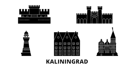 Russia, Kaliningrad City flat travel skyline set. Russia, Kaliningrad City black city vector panorama, illustration, travel sights, landmarks, streets. Иллюстрация