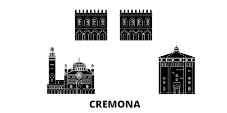 Italy, Cremona flat travel skyline set. Italy, Cremona black city vector panorama, illustration, travel sights, landmarks, streets.