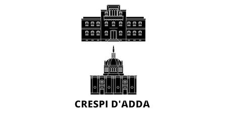 Italy, Crespi Dadda  flat travel skyline set. Italy, Crespi Dadda  black city vector panorama, illustration, travel sights, landmarks, streets.