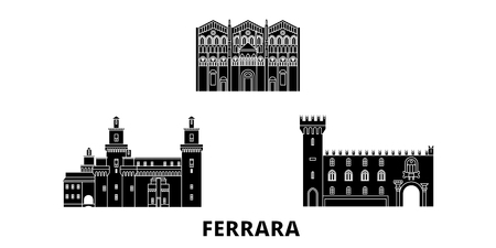 Italy, Ferrara flat travel skyline set. Italy, Ferrara black city vector panorama, illustration, travel sights, landmarks, streets. Ilustrace