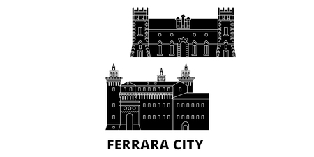 Italy, Ferrara City flat travel skyline set. Italy, Ferrara City black city vector panorama, illustration, travel sights, landmarks, streets.