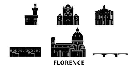 Italy, Florence flat travel skyline set. Italy, Florence black city vector panorama, illustration, travel sights, landmarks, streets.