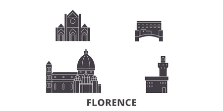 Italy, Florence City flat travel skyline set. Italy, Florence City black city vector panorama, illustration, travel sights, landmarks, streets.