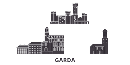 Italy, Garda flat travel skyline set. Italy, Garda black city vector panorama, illustration, travel sights, landmarks, streets.